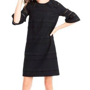 J. Crew Flutter Sleeve Eyelet Shirt Dress Black
